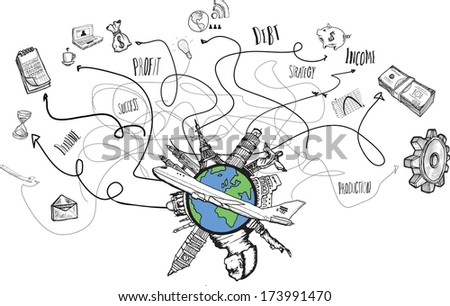 Global business and travel doodles on white background