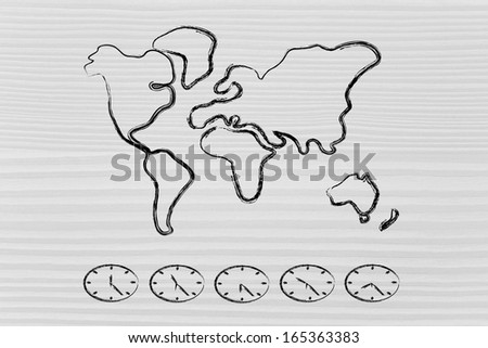 global business challenges: conceptual design with world map and local time clocks