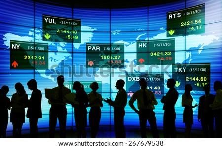 Global Business Communication Stock Exchange Finance Concept - stock photo