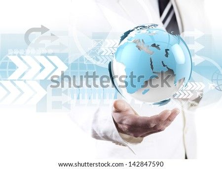 Global business concept. World map and technology concept - stock photo