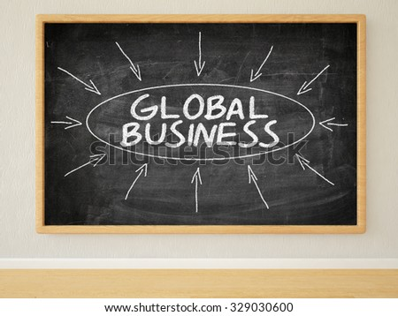Global Business - 3d render illustration of text on black chalkboard in a room. - stock photo