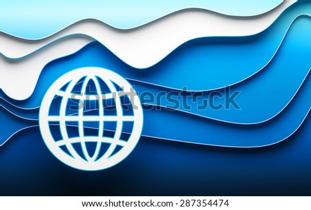 Global business illustration with flat globe symbol on blue layered background - stock photo