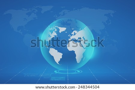 global business, mass media and modern technology concept - virtual globe and map projection over blue background