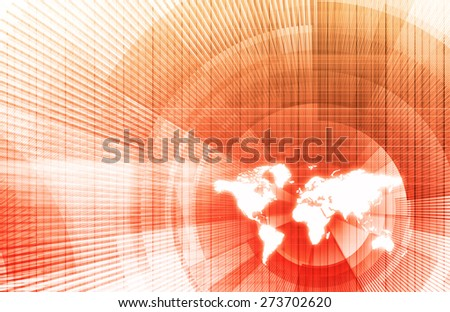 Global Business Network with Modern Lines as Concept - stock photo
