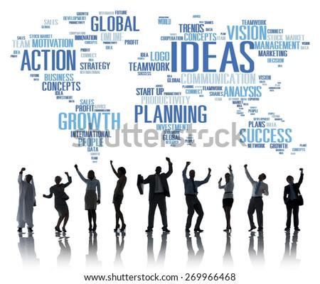Global Business People Celebration Success Ideas Concept - stock photo