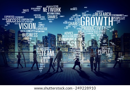 Global Business People Commuter Walking Success Growth Concept - stock photo