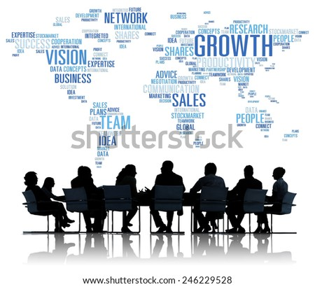 Global Business People Corporate Meeting Success Growth Concept - stock photo