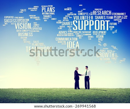 Global Business People Greeting Handshake Support Concept - stock photo