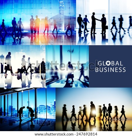 Global Business People Handshake Meeting Communication Concept