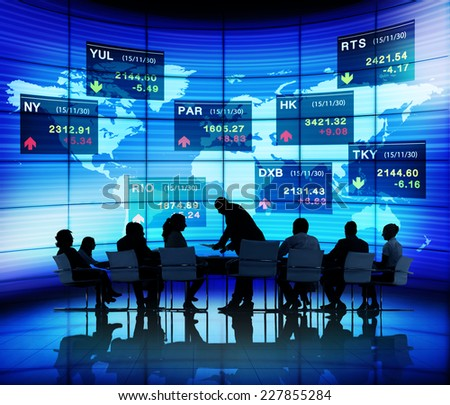Global Business People Meeting Stock Exchange Concept - stock photo