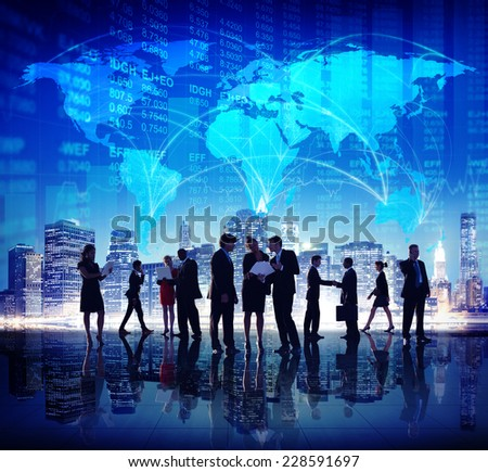 Global Business People Stock Exchange Finance City Concept