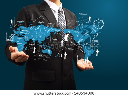 Global business plan in hand of businessman, With creative drawing business strategy plan concept idea