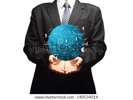 Global business plan in hand of businessman, With creative drawing business strategy plan concept idea, isolated on background - stock photo