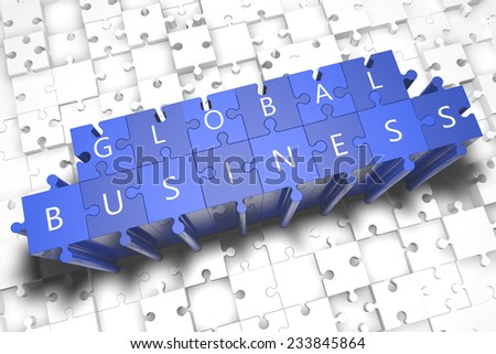 Global Business - puzzle 3d render illustration with block letters on blue jigsaw pieces  - stock photo