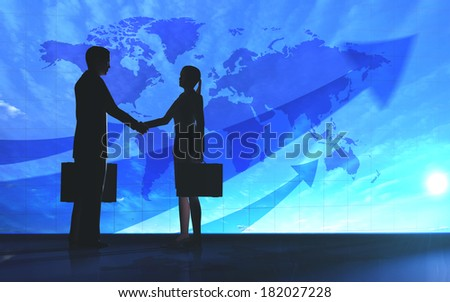 Global  Business shake hand silhouettes