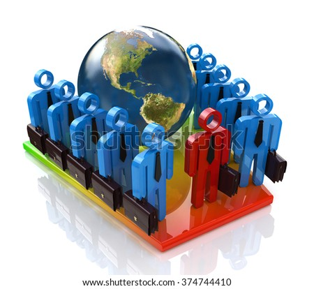 Global business team at registration information related to the world and people - stock photo