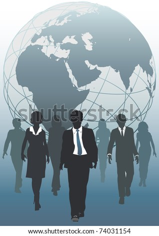 Global business team emerging from globe as symbol of human resources workforce - stock photo