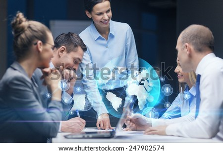 global business, technology, management , connection and people concept - smiling female boss talking to business team in office - stock photo