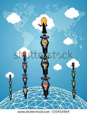 Global Business work group people concept illustration. - stock photo