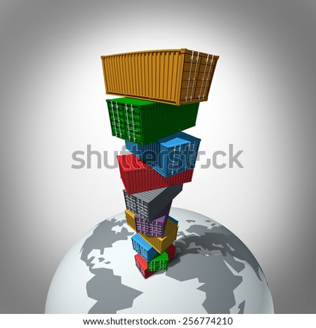 Global cargo transportation concept as a high stack of transport containers towering over the planet as a symbol for international trade for importing and exporting. - stock photo