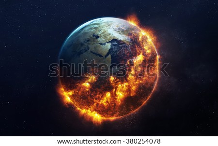 Global catasrtophe concept illustration. This image elements furnished by NASA - stock photo