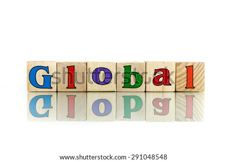 global  colorful wooden word block on the white background