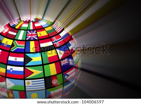 Global communication concept: glowing globe with world flags on black background