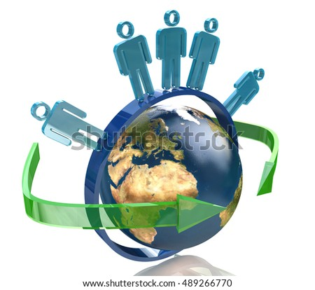 Global communication concept in the design of information related to people and communication. 3d illustration