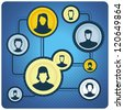 Global communication concept - network with people icons - - raster illustration - stock photo