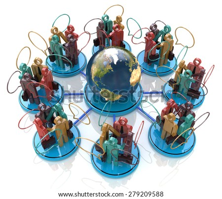 Global communication concept. Social Network - Elements of this image furnished by NASA - stock photo