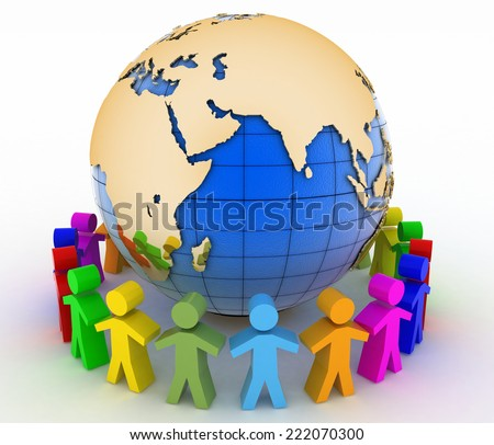 Global communication concept. World partnership. 3d image isolated on white background.  - stock photo