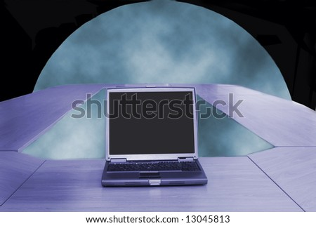 Global communication, conference room with futuristic technology - stock photo