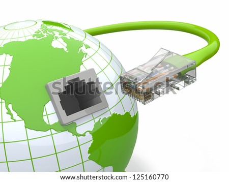 Global communication. Earth and cable, rj45. 3d - stock photo