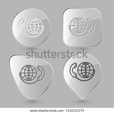 Global communication. Glass buttons. Raster illustration. - stock photo