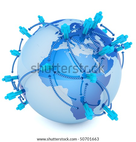 Global communication. Hi-res digitally generated image. - stock photo