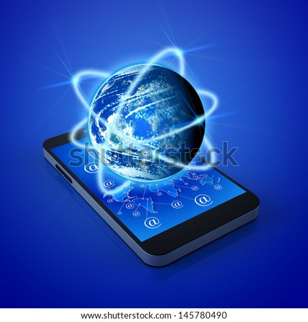 Global communication in the smart phone - stock photo