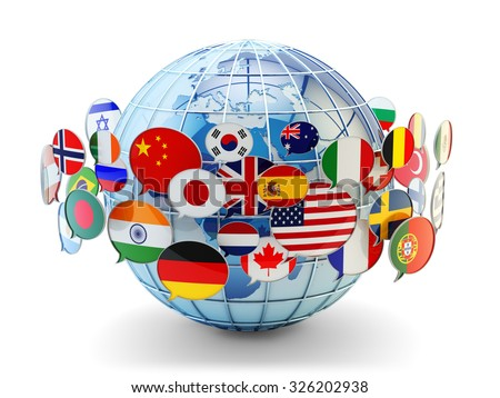 Global communication, international messaging and translation concept, speech bubbles with flags of world countries around Earth globe isolated on white (Elements of this image furnished by NASA) - stock photo
