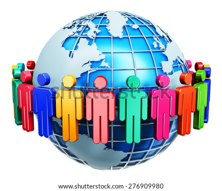 Global communication, social media network and business partnership, success and teamwork internet web concept: group of 3D color people figures joined in circle around Earth globe isolated on white - stock photo