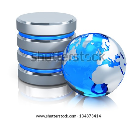 Global communication, web computer networking and telecommunication internet concept: metal HDD icon and blue Earth globe isolated on white background with reflection effect - stock photo