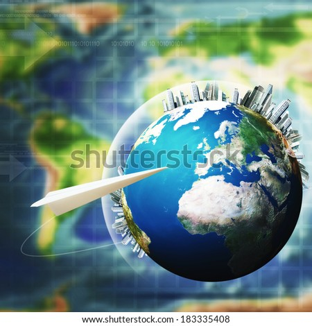 Global communications. Abstract technology and transportation backgrounds - stock photo