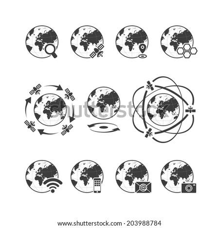 Global communications icon set with globe earth on white background. Rasterized bitmap version. - stock photo