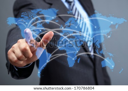 Global communications network, businessman with futuristic world map concept for business and social networking media