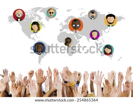 Global Community World People Social Networking Connection Concept - stock photo