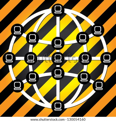 Global Computer Network Concept Present By The Earth With Computer Laptop Connected  in Yellow and Black Line Background