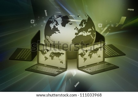 Global computer Network on abstract background