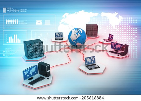 Global computer networking - stock photo