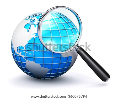 Global computer web search communication PC technology internet business concept: blue Earth globe with map and shiny metal magnifying glass lens or magnifier loupe isolated on white background - stock photo