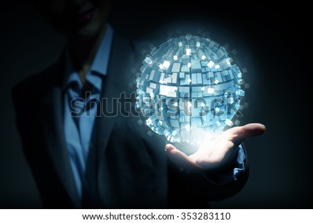 Global connection concept with digital planet in hands