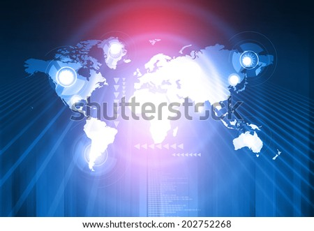 global connection  or social connection network, global technology concept  - stock photo
