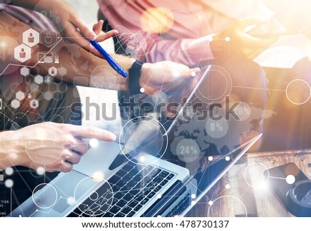 Global Connection Virtual Icon Diagram Interface Marketing Searching.Young Coworkers Team Analyze Meeting Report Electronic Gadget.Businessman Startup Online Markets Project.Closeup Blurred Background